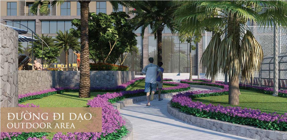 Đường dạo bộ được trồng nhiều cây xanh và hoa