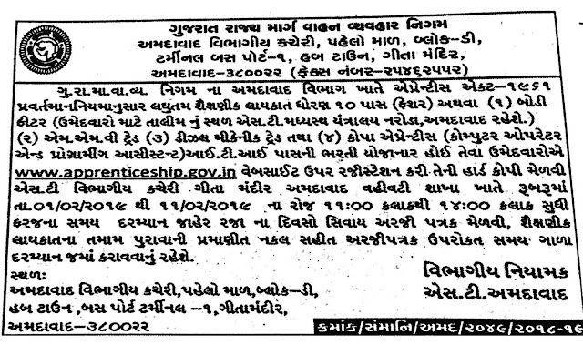 Gujarat State Road Transport Corporation (GSRTC) Recruitment for Apprentice Posts 2019