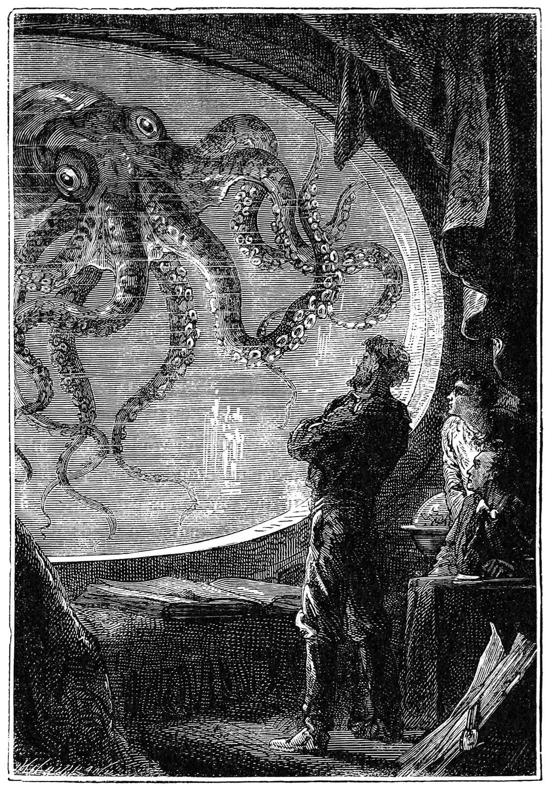 Grabado de 20.000 Leguas de Viaje Submarino, por Alphonse de Neuville