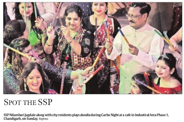 SSP Nilambari Jagdale, Satya Pal Jain Ex-MP alongwith city residents play dandia during Garba Night at a cafe in Industrial Area Phase 1, Chandigarh on Sunday