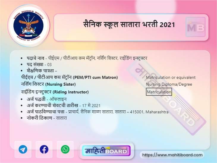Sainik School Satara Recruitment 2021