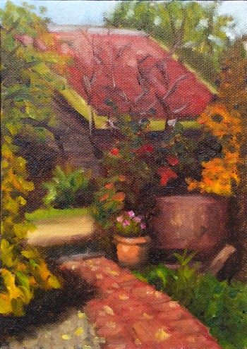 Oil painting of a brick path--flanked by an overgrown garden--leading to a gravel driveway, with a red-roofed shed in the background.