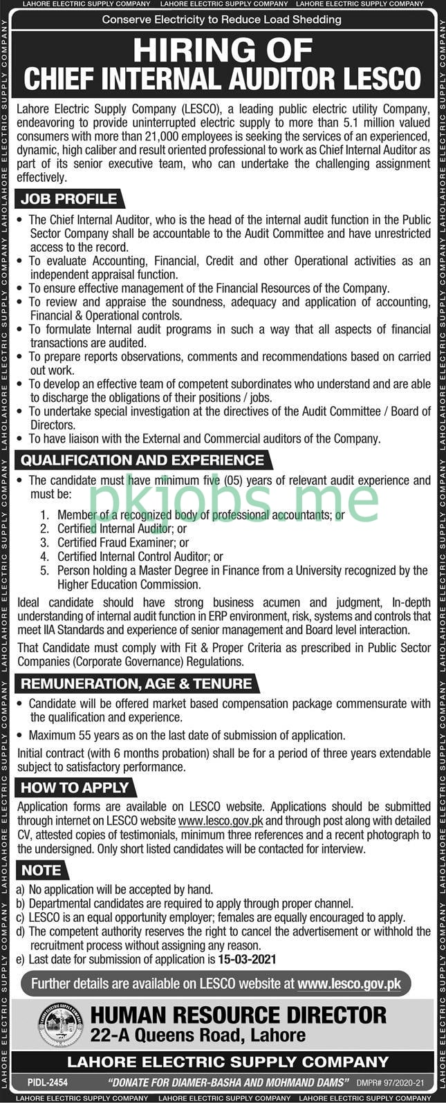 Latest Lahore Electric Supply Company Management Posts 2021