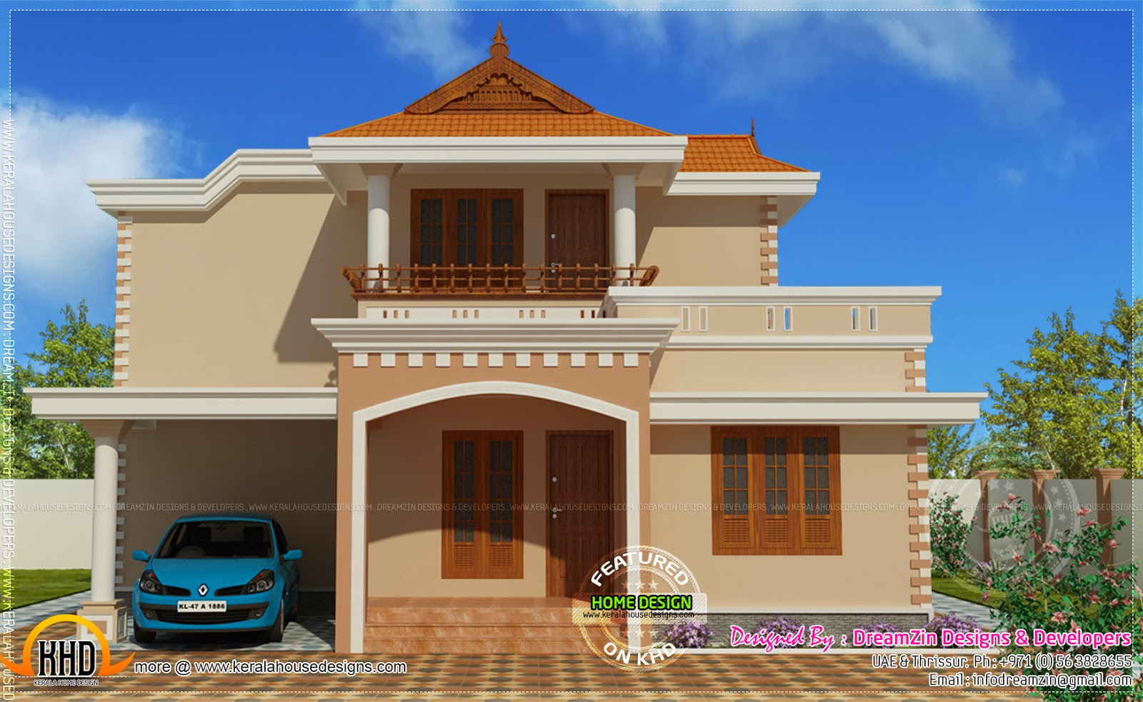 Simple double storied house elevation kerala home design for Indian house portico models