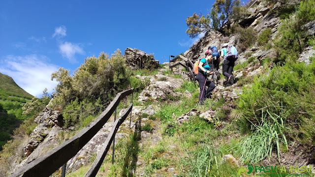 Sendero y valla de la ruta Salmones Arriba en Belmonte