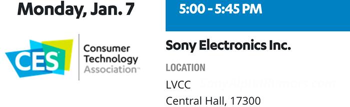 Логотип пресс-конференции Sony на выставке CES 7 января