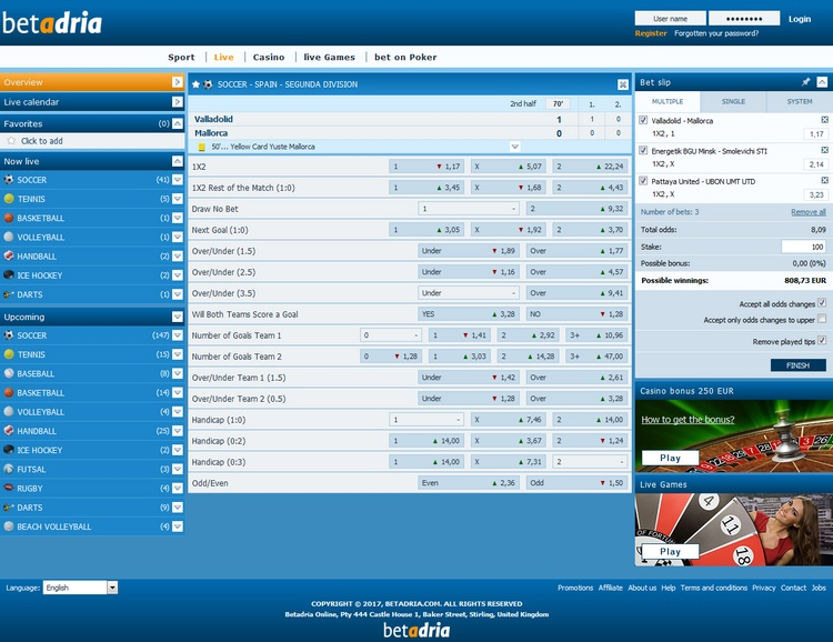 Betadria Live Betting Offers