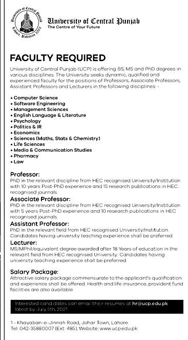 University of Central Punjab Latest Jobs 2021 in Pakistan