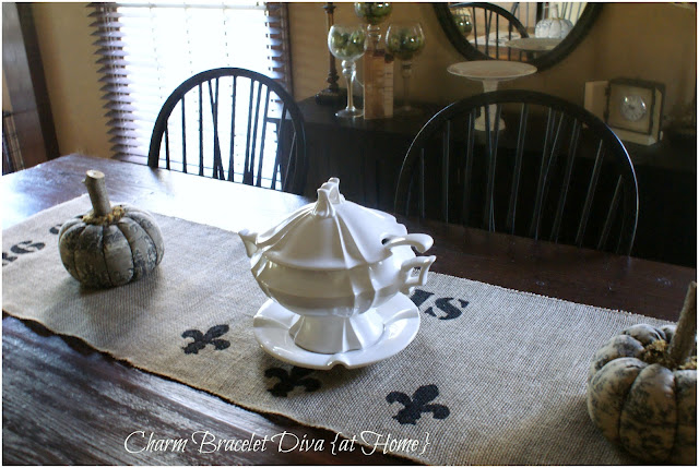 vintage ironstone soup tureen farmhouse table stencilled burlap table runner
