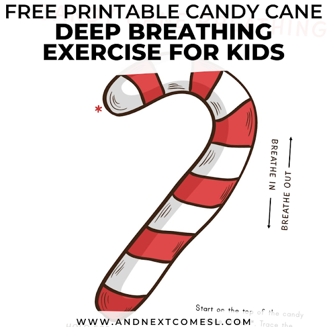 Candy cane themed breathing exercise for kids with free printable poster