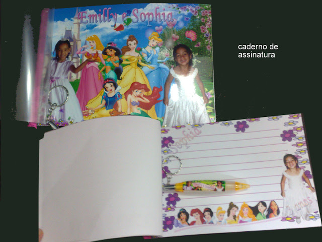Caderno de Assinatura As Princesas  Disney dicas e ideias para decoração de festa personalizados