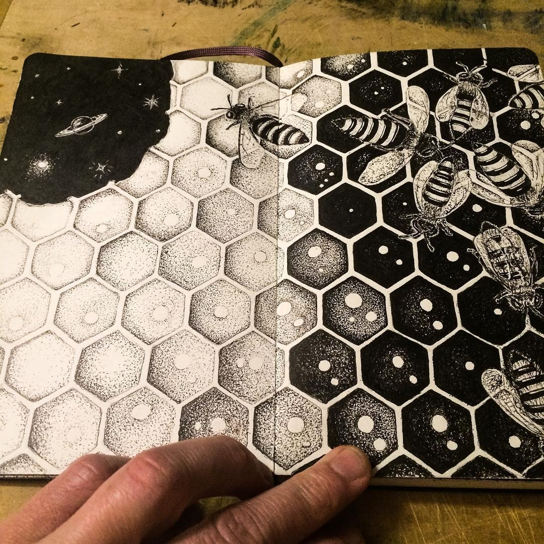 05-Honey-Bees-mrc_artworks-Sketching-Inspirations-on-a-Moleskine-Notebook-www-designstack-co