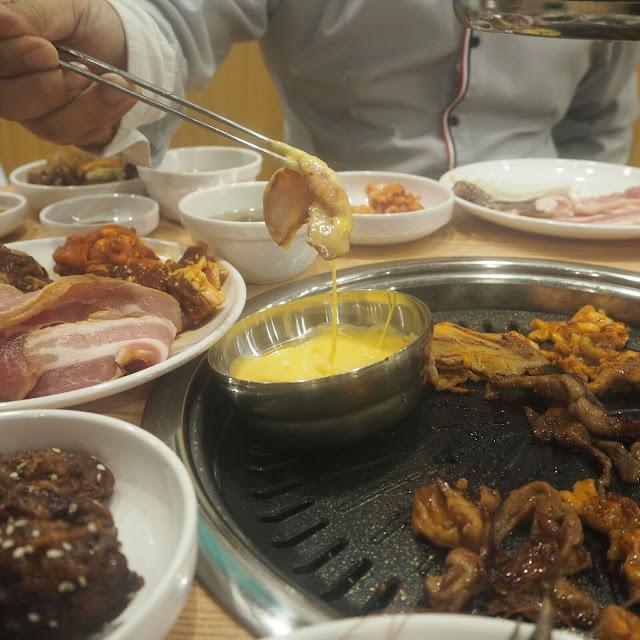 cheese dip at Daessiksin Korean BBQ Buffet