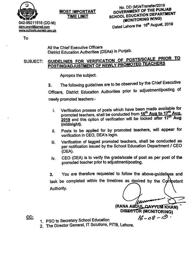 GUIDELINES FOR VERIFICATION OF POSTS / SCALE PRIOR TO POSTING / ADJUSTMENT OF NEWLY PROMOTED TEACHERS