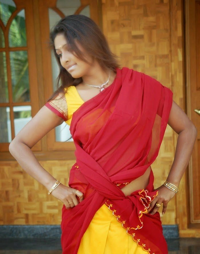 Hot Vinutha Lal navel In Red Half Saree HQ Photos South ...