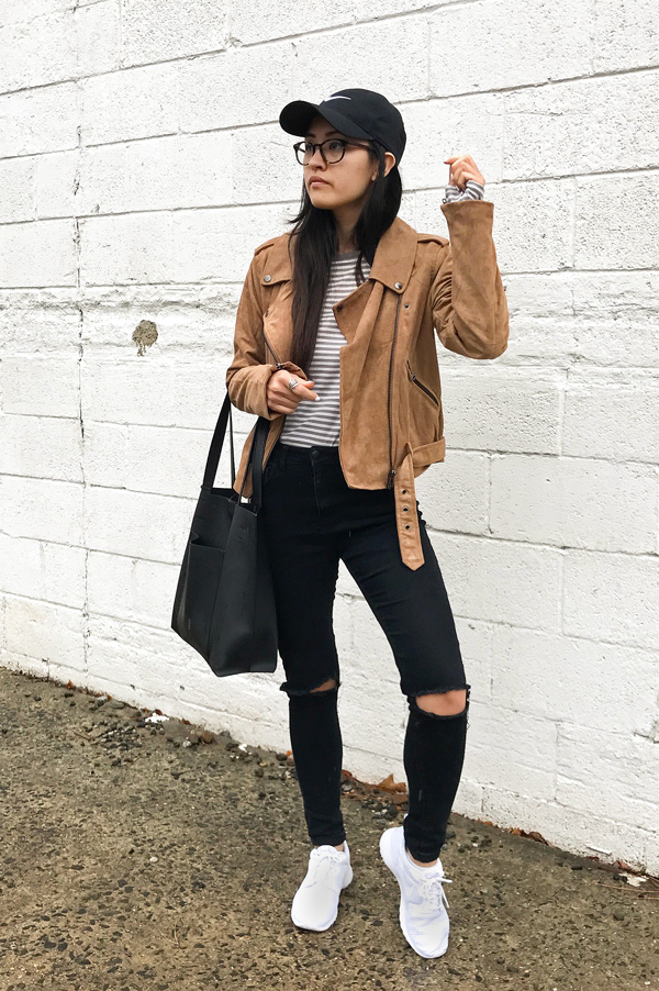 Suede Moto Jacket Black Jeans