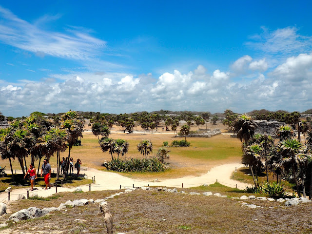 Palm trees and Mayan ruins of Tulum, Mexico