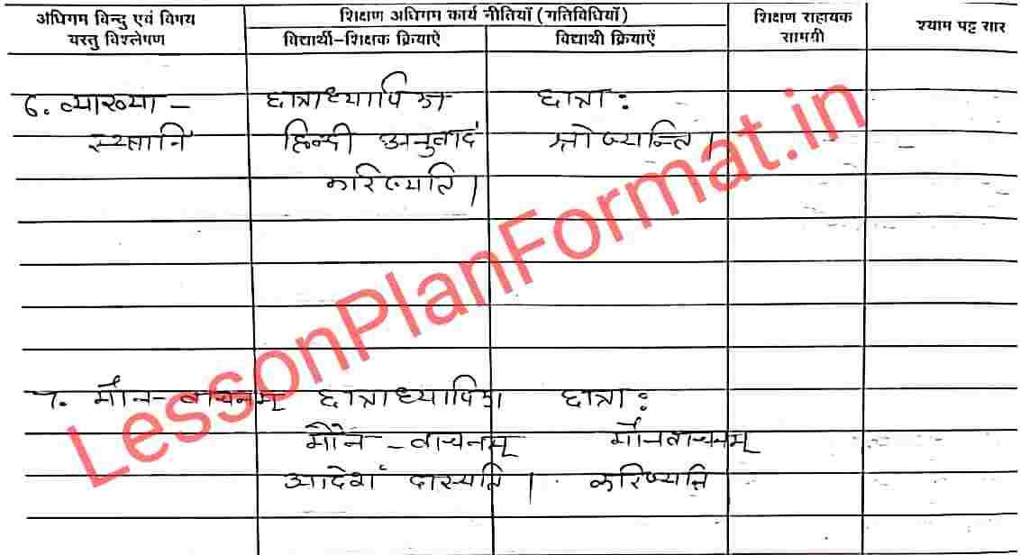 Lesson Plan in Sanskrit Class 6
