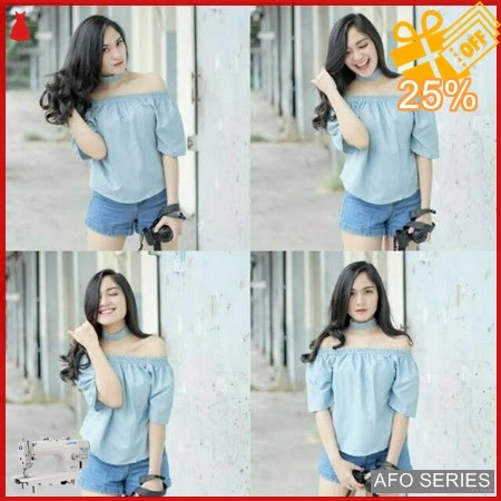 AFO262 Model Fashion Babyblue Chocker Sabrina Modis Murah BMGShop