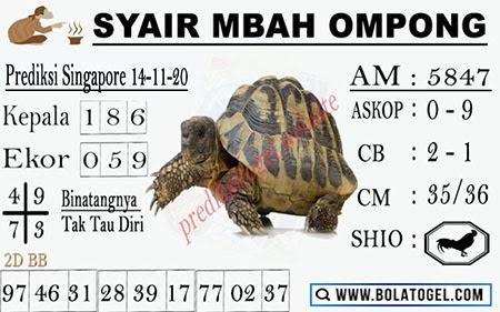 Syair Mbah Ompong SGP Sabtu 14 November 2020