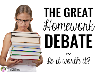 "Image of grumpy student with text, ""The Great Homework Debate: Is it worth it?"""