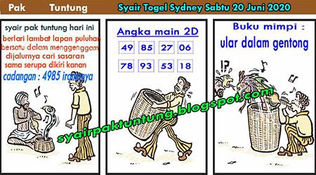 Syair Sydney Pak Tuntung Sabtu 20 Juni 2020
