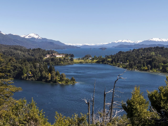 View of Lake Nahuel Huapi and Llao Llao Hotel beyond on the Circuito Chico in Bariloche Argentina