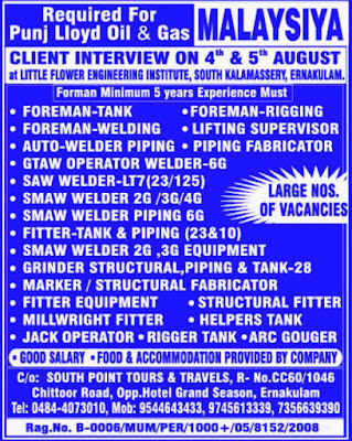 Punj Lloyd Oil and Gas Malaysia Mechanical Jobs