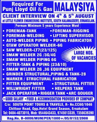 Punj Lloyd Oil and Gas Malaysia Mechanical Jobs