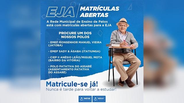 Rede Municipal de Ensino de Patos está com matrículas abertas para EJA