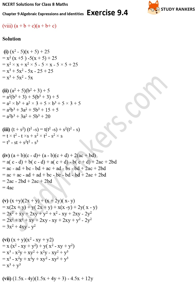 NCERT Solutions for Class 8 Maths Ch 9 Algebraic Expressions and Identities Exercise 9.4 3