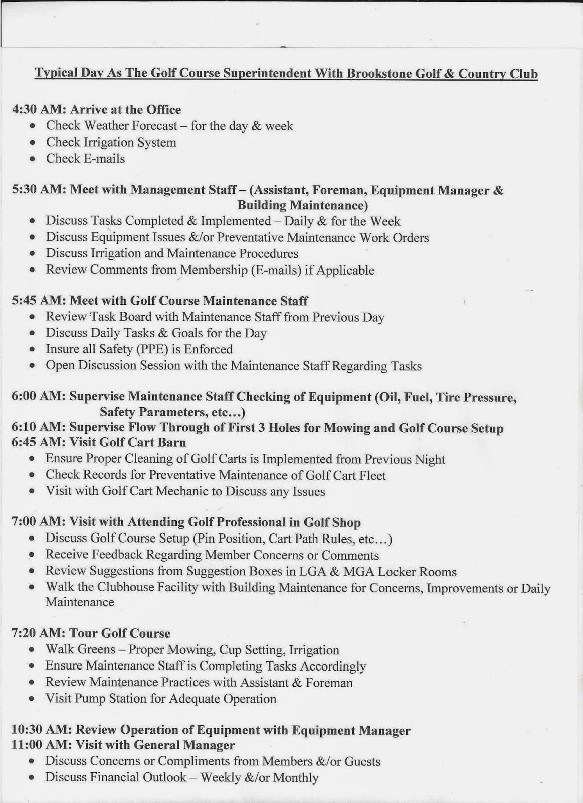 Brookstone Golf & Country Club Golf Course Maintenance: June