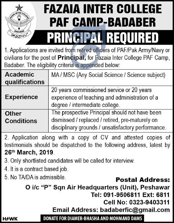Jobs in Fazaia Inter College PAF Camp Baaber 2019