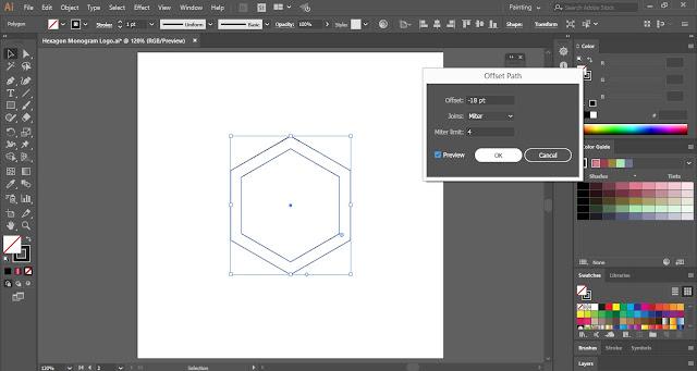 Monogram Logo with Hexagon Shape in Adobe Illustrator