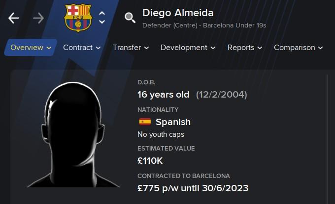 Diego Almeida FM21 Football Manager 2021 Wonderkid