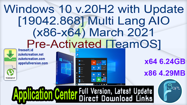 Windows 10 v.20H2 with Update [19042.868] Multi Lang AIO (x86-x64) March 2021 Pre-Activated [TeamOS]