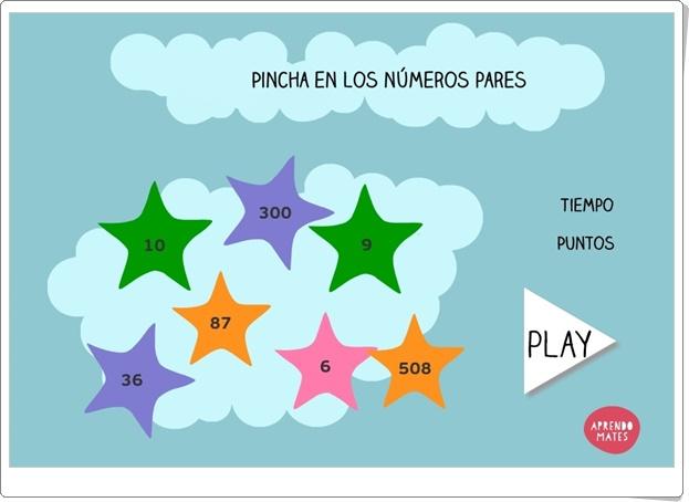"""""""Pincha en los números pares"""" (Juego de Matemáticas de Primaria)"""