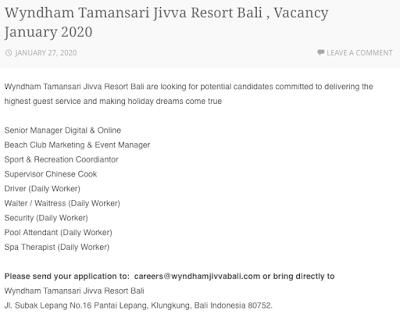 Lowongan Kerja Wyndham Tamansari Jivva Resort Bali Januari 2020
