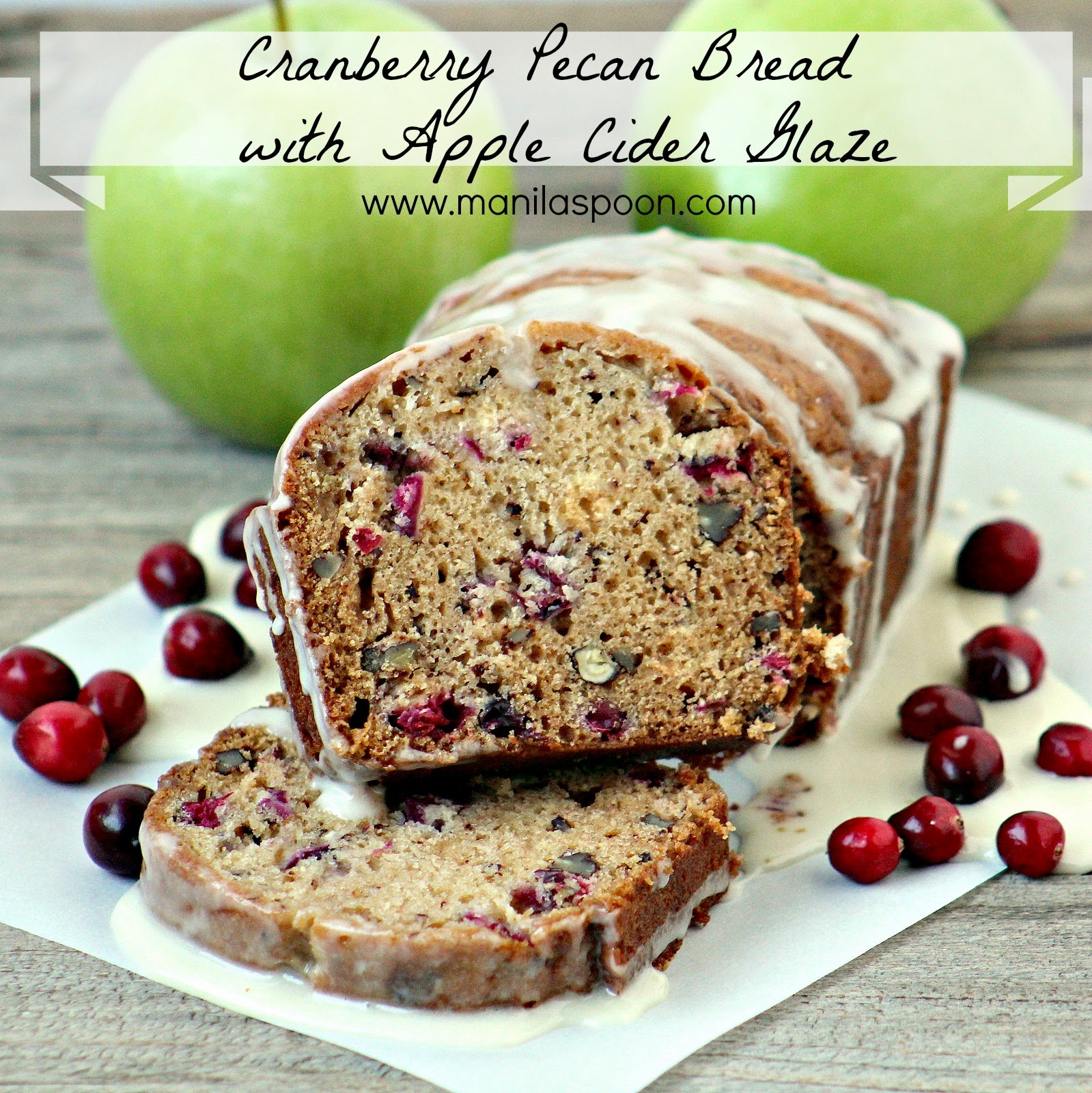 Flavored with Apple Cider, this moist and delicious nutty and sweet-tangy bread is the perfect snack for the family. Perfect for Thanksgiving, Christmas or any holiday dessert table. -CRANBERRY PECAN BREAD WITH APPLE CIDER GLAZE
