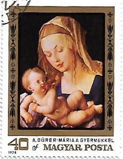 Selo Madona e Criança com Pera