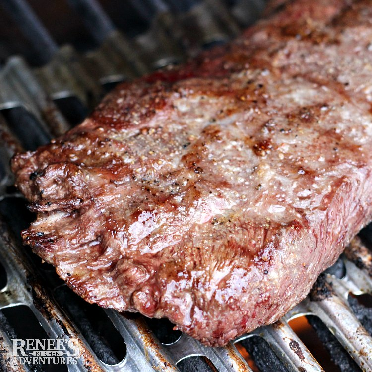 Flat Iron Steak with Citrus Salsa by Renee's Kitchen Adventures on the grill
