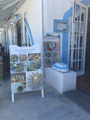 Restaurant on the Island of Salina advertising pane cunzato.