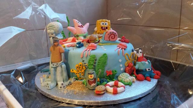 sponge bob fondant cake