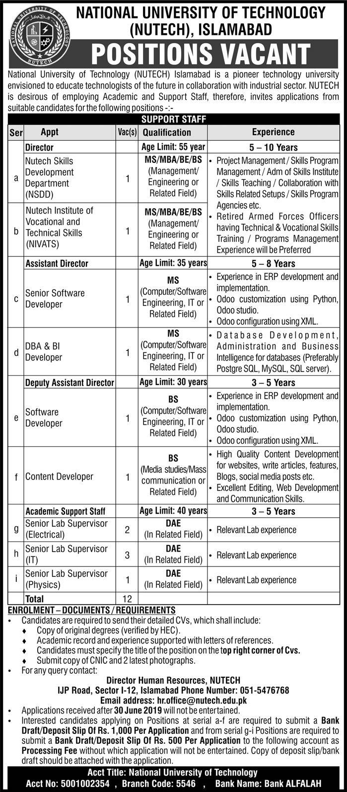 Advertisement for NUTECH Jobs 2019
