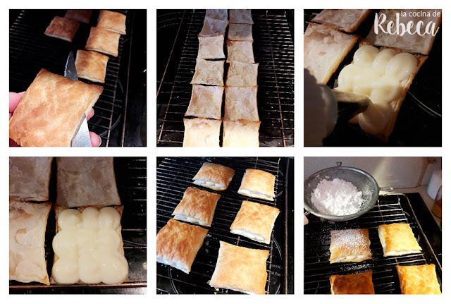 Receta de pasteles de hojaldre y crema (miguelitos): relleno y presentación