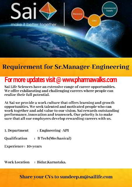 Urgent walk-in interview for Engineering - API @ Sai Life Sciences