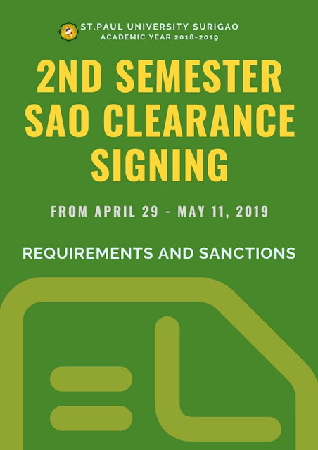 Student Clearance signing for AY 2018-2019