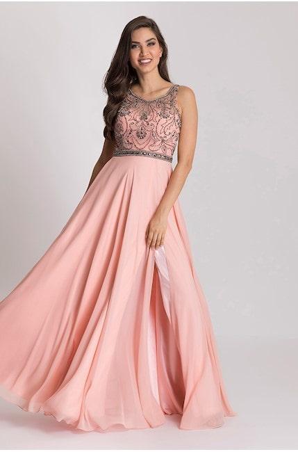 vestido longo rose com fenda