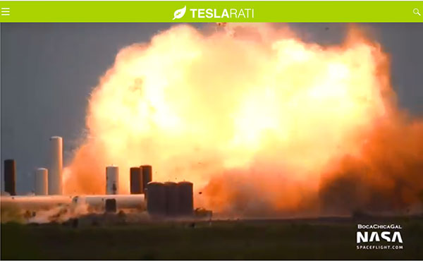 Starship SN4 explodes during test (Source: @Teslarati and @BocaChicaGal)