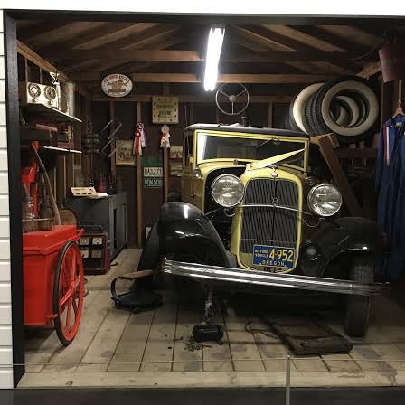 An inside peek of Lucky's Garage at LeMay America's Car Museum